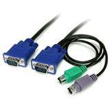 (€7,19*/1m) 1.80m Startech KVM Anschlusskabel VGA 15pol Stecker + 2xPS2 Stecker auf VGA 15pol Stecker Schwarz