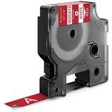 Dymo Vinylband 1805416 für Rhino Etikettendrucker, 12 mm x 5,5 m, weiß auf rot