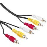 (€6,48*/1m) 2.00m Hama Video Anschlusskabel Composite/Stereo 3xCinch Stecker auf 3xCinch Stecker Schwarz
