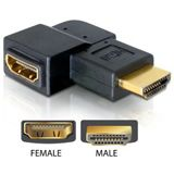 Delock HDMI Adapter HDMI-Stecker auf HDMI-Buchse Schwarz gewinkelt rechts / vergoldet