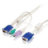 (€7,63*/1m) 3.00m LevelOne KVM Anschlusskabel VGA 15pol Stecker + PS2 Stecker + USB A Stecker auf VGA 15pol Stecker Schwarz