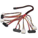 """(€141,80*/1m) 0.50m Digitus SAS Anschlusskabel SFF-8087 Stecker auf 4xSFF-8482 + 5,25"""" Molex Strom Stecker Rot/Schwarz"""