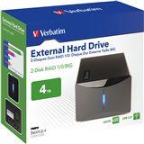 4000GB Verbatim External Hard Drive 47524 Extern eSATA/USB 2.0 schwarz
