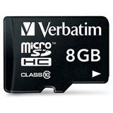 8 GB Verbatim microSDHC Class 10 Retail inkl. Adapter