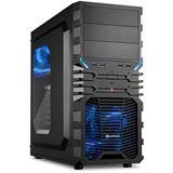 Sharkoon VG4-W mit Sichtfenster Midi Tower ohne Netzteil schwarz/blau