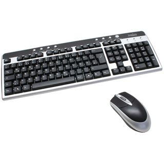 Perixx Tastatur + Maus PERIDUO-204 U DE, USB, silber/schwarz