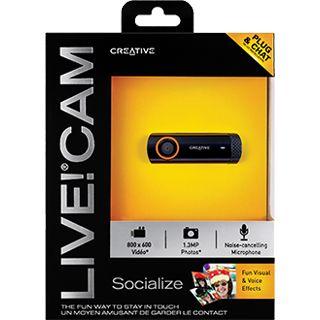 Creative Web Kamera Live Cam Socialize 1.3 MPixel 1280x720 Schwarz USB 2.0