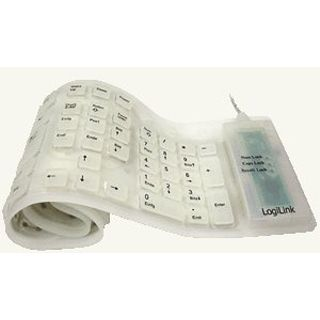 LogiLink Flexible Waterproof Keyboard PS/2 & USB Deutsch weiß (kabelgebunden)