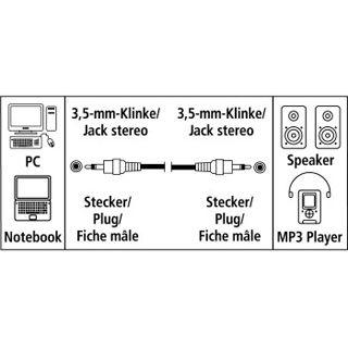0.50m Hama Audio Verbindungskabel 3.5mm Klinke Stecker Stereo auf 3.5mm Klinke Stecker Stereo Schwarz