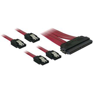 (€21,80*/1m) 0.50m Delock SAS Adapterkabel SFF-8484 Stecker auf 4xSATA Stecker Rot mit Arretierung
