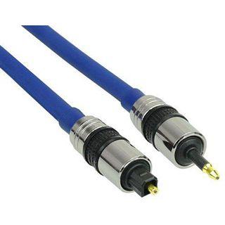 (€7,90*/1m) 1.00m InLine Audio Anschlusskabel Premium-Line 3.5mm Stecker auf Toslink Stecker Blau