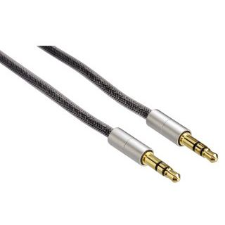 2.00m Hama Audio Verbindungskabel 3.5mm Klinke Stecker Stereo auf 3.5mm Klinke Stecker Stereo Grau/Silber geschirmt/vergoldet
