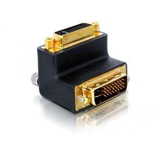Delock DVI-I Adapter gewinkelt rechts DVI 24+5 Stecker auf DVI 24+5 Buchse Schwarz vergoldet