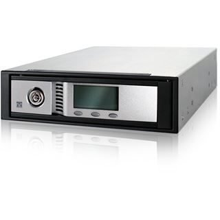 "5.25"" (13,33 cm) Icy Dock Hot Swap Screw-Less SATA 2 Aluminum Internal Mobile Rack Compact Version (Black) w/ LCD"