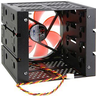 Xigmatek 4in3 schwarz mit 120mm LED-Lüfter Festplattenkäfig für Gehäuse (CCA-EMFCB-U01)