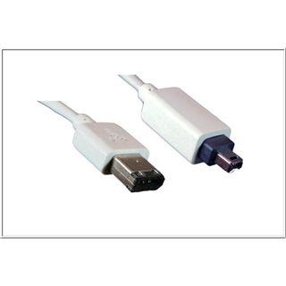2.00m Good Connections FireWire400 Anschlusskabel 4pol Stecker auf 6pol Stecker Weiß