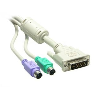 3.00m Good Connections KVM Anschlusskabel DVI 24+1 Stecker + 2xPS2 Stecker auf DVI 24+1 Stecker + 2xPS2 Stecker Schwarz