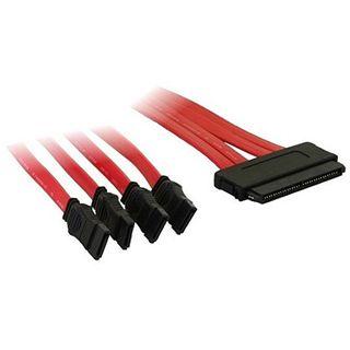 0.75m Good Connections SAS 3Gb/s Anschlusskabel SFF-8484 Stecker auf 4xSATA Stecker Rot