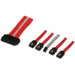 0.50m Good Connections SAS 3Gb/s Anschlusskabel SFF-8484 Stecker auf 4xSATA Stecker + 6pol. LED Buchse Rot