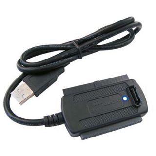Good Connections Adapter Anschlusskabel USB A Stecker auf SATA Stecker + IDE Stecker Schwarz mit Netzteil