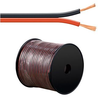 100.00m Good Connections Audio Lautsprecherkabel Standard ohne Stecker auf Rot/Schwarz Rolle/2x 0,75mm²