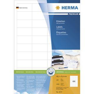 Herma 4727 Premium Universal-Etiketten 4.83x2.54 cm (100 Blatt (4400Etiketten))