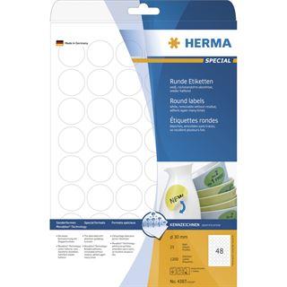 Herma 4387 rund ablösbar Universal-Etiketten 3x3 cm (25 Blatt (1200 Etiketten))