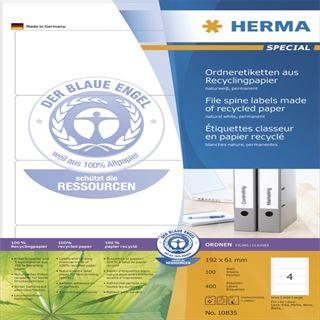 Herma 10835 recylingbar Ordneretiketten 19.2x6.1 cm (100 Blatt (400 Etiketten))